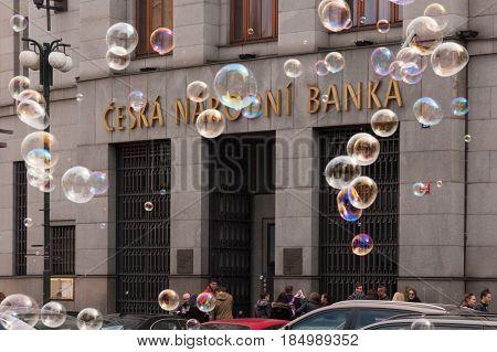 Prague, Czech Republic - April 21, 2017: The Building Of The Czech National Bank, With Colorful Bubb