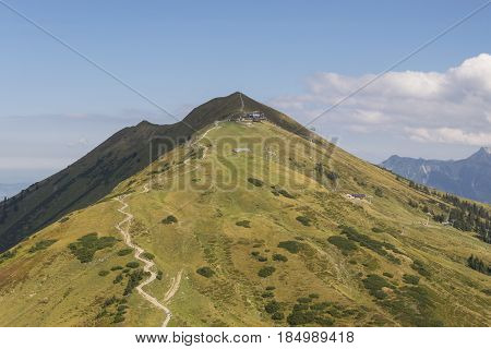 Mountain trail in German alps on a clear autumn day