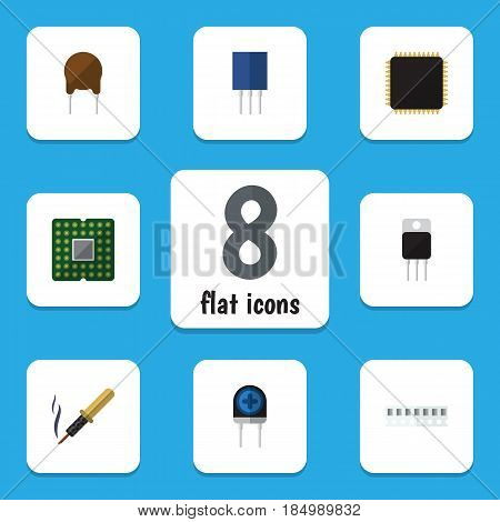 Flat Electronics Set Of Cpu, Repair, Receiver And Other Vector Objects. Also Includes Fiildistor, Cpu, Triode Elements.