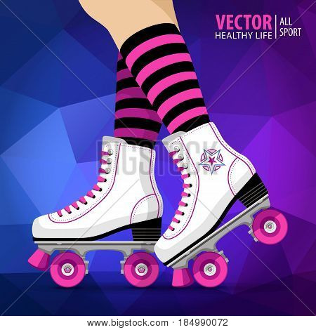 Roller girl. Quad skates classic. Roller skates. Sport. Background Vector illustration