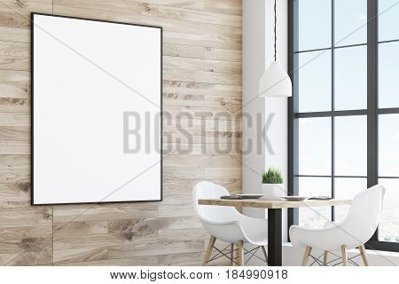 Light Cafe Table With Poster, Side