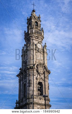 Famous landmark od Porto in Portugal - Clerigos Church bell tower
