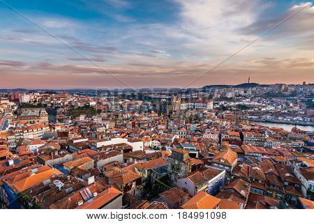 Sunset in Porto city Portugal - view from Clerigos Tower