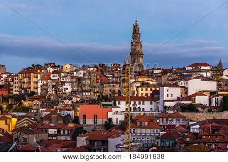 Cityscape of Porto Portugal with famous Clerigos church tower