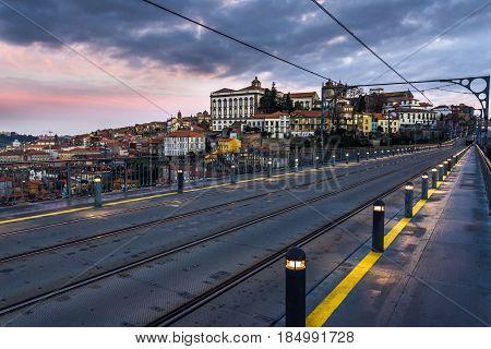 Famous Dom Luis Bridge between Porto and Vila Nova de Gaia in Portugal
