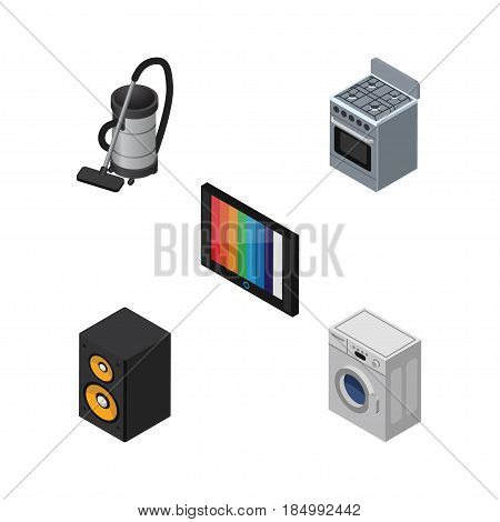 Isometric Device Set Of Stove, Vac, Television And Other Vector Objects. Also Includes Cleaner, Device, Kitchen Elements.