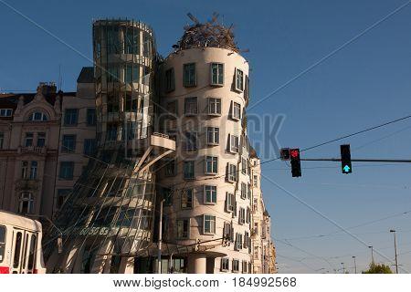 PRAGUE, CZECH REPUBLIC - APRIL 24, 2017: The Dancing House (Tancici dum) also called Ginger & Fred - Prague's most famous modern architecture building