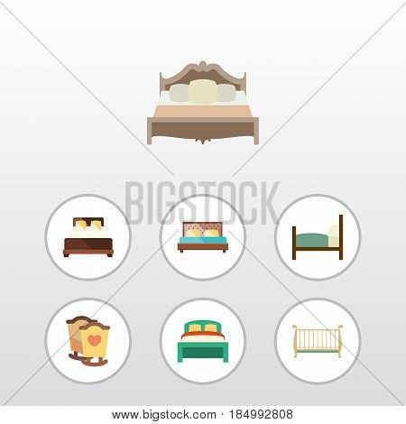 Flat Bed Set Of Bed, Cot, Hostel And Other Vector Objects. Also Includes Bed, Bedroom, Bearings Elements.