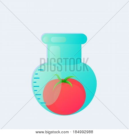 Genetic engineering. GMO. Tomato in test tube.