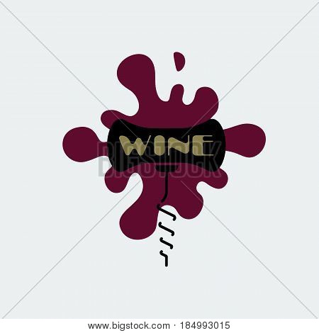 Corkscrew icon. Black corkscrew with burgundy stain