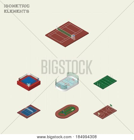 Isometric Training Set Of B-Ball, Fighting, Ice Games And Other Vector Objects. Also Includes Ice, B-Ball, Field Elements.