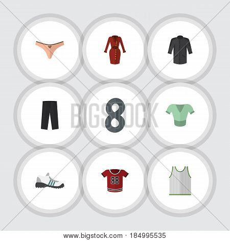 Flat Garment Set Of Lingerie, Uniform, Sneakers And Other Vector Objects. Also Includes Garment, Leggings, Shirt Elements.