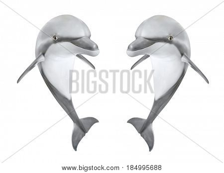 Two jumping Bottlenose Dolphins - Tursiops Truncatus. Sea life isolated on white background. Animal 3D illustration for your happiness.