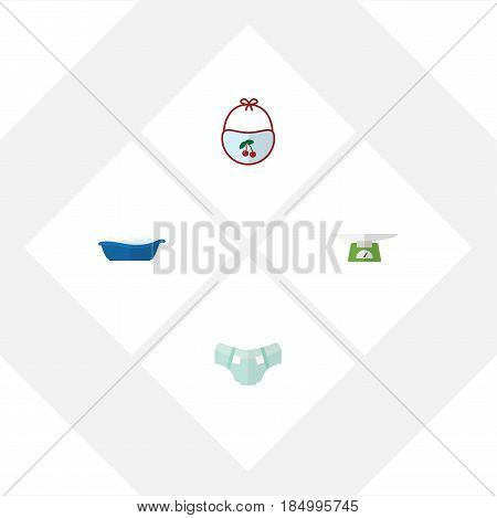 Flat Child Set Of Bathtub, Children Scales, Pinafore And Other Vector Objects. Also Includes Bathtub, Nappy, Bathing Elements.