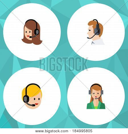 Flat Center Set Of Secretary, Telemarketing, Service And Other Vector Objects. Also Includes Secretary, Call, Support Elements.