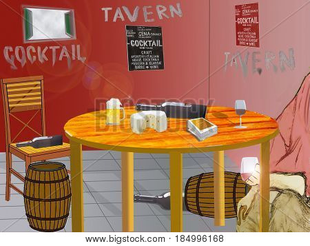 illustration of the interior of a tavern with a customer drinking wine
