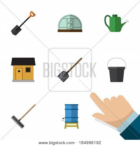 Flat  Set Of Hothouse, Container, Pail And Other Vector Objects. Also Includes Farmhouse, Greenhouse, Spade Elements.
