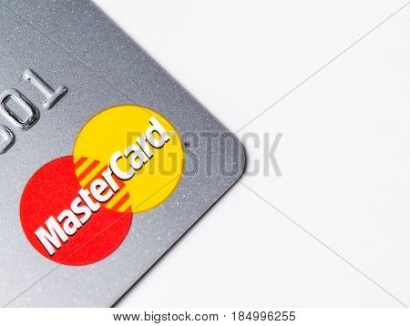 Chicago,IL,USA,Feb-12,2017,Close up of a Master Card Credit Card  on white background (for editorial use only)