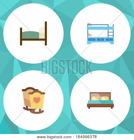 Flat Bed Set Of Crib, Bunk Bed, Bed And Other Vector Objects. Also Includes Bunk, Child, Hostel Elements.