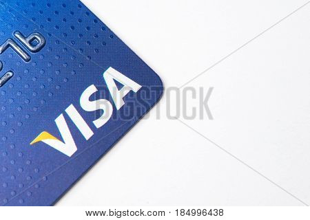 Chicago,IL,USA,Feb-12,2017,Close up of a Visa Credit Card  on white background (for editorial use only)