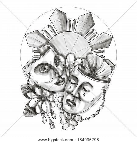 Tattoo style illustration showing a drama theater mask with hibiscus or rose mallow and arabian jasmine Jasminum sambac or sampaguita and Philippine sun in background.