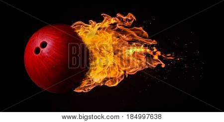 Flying Bowling Ball Engulfed In Flames