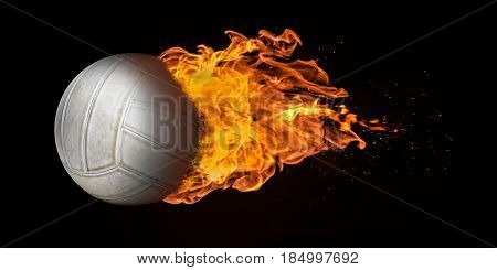 Flying Volleyball Engulfed In Flames