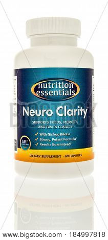 Winneconne WI - 4 May 2017: A bottle of Nutrition Essentials Neuro Clarity capsules on an isolated background.