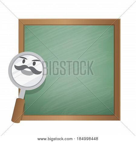 Magnifying glass character cartoon design and text box green board frame for message illustration vector. Education concept.