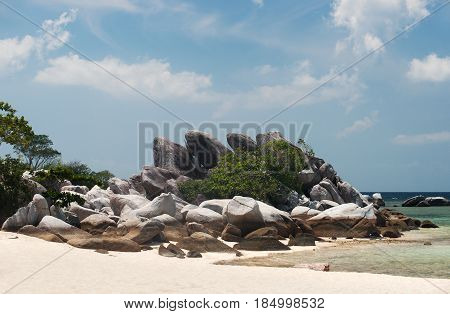 Natural Rock Formation On White Sand Beach At The Coast In Belitung Island In The Afternoon, Indones