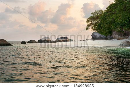 Natural Rock Formation In The Sea And On A White Sand Beach In Belitung Island Early In The Morning,