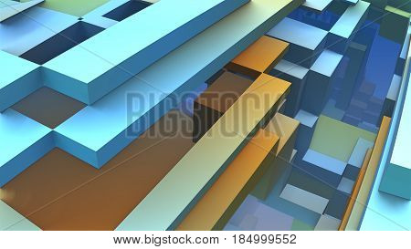 3D Abstract colorful geometric shapes. 3D illustration