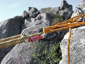 Equipment for mountain climbing and rappelling close up poster