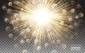 lights effect Bright flare decoration with sparkles. Gold glowing circle light burst explosion Transparent shine gradient glare texture. Vector illustration on transparent background. poster