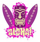 Illustration of tiki mask with surf boards, and hand drawn text Aloha poster