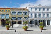 Old Square Plaza Vieja - Havana, Cuba: Beautifully restored colonial buildings at the Old Square Plaza Vieja in Havana, Cuba. poster