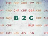 Business concept: Painted green text B2c on Digital Data Paper background with Currency poster