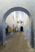 Typical Berber type alleyway Moroccan town of Azemmour El Jadida Morocco. poster