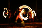Fire dancers at Hawaii luau show, polynesian hula dance men juggling with fire torches. poster