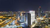 Aerial View - Skyline Panorama Of Tel Aviv And Ramat Gan at Night poster