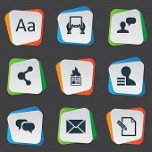 Vector Illustration Set Of Simple Newspaper Icons. Elements Gain, Man Considering, Gazette And Other Synonyms Gain, Epistle And Share. poster