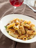 rigatoni pasta with tomato meat sauce and wine poster