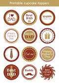 Printable hipster cupcake toppers for father's day. Vector set of labels, stickers, cupcake toppers poster