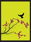 Raster - Japanese spring flower zen style with bird flying towards a branch. poster