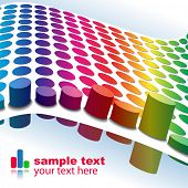 Vector - 3D Halftone colorful retro dots forming a wave for background use. poster