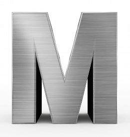 Letter M 3D Metal Isolated On White