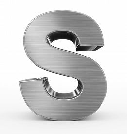Letter S 3D Metal Isolated On White