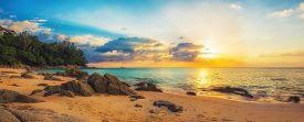 Panorama of Naithon sea beach at sunset. Thailand Phuket