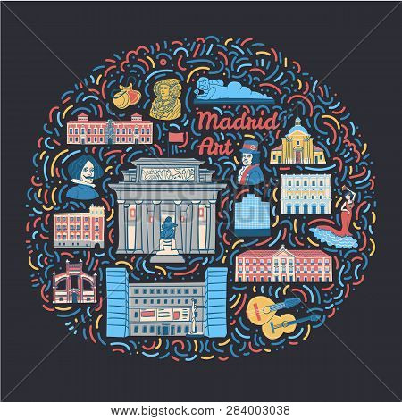 Hand Drawn Illustration With Famous Madrid Cultural Places Such As Museums, Galleries, Monuments, Pa