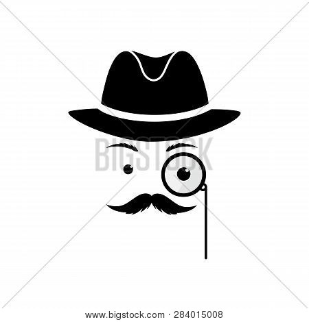 A Mustache Man In A Hat And With A Monocle. Secret Agent In A Bowler Hat. Detective Vector Icon